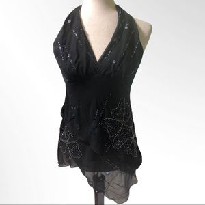 BCBGMAXAZRIA Asymmetrical Silk Embellished Halter